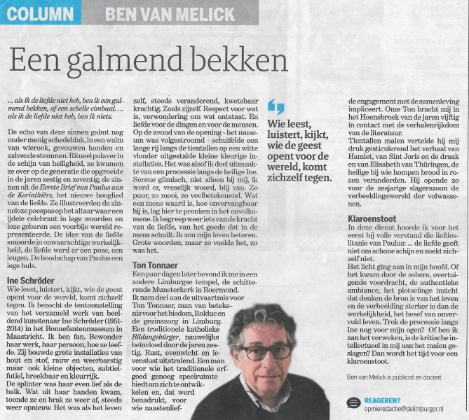 Column Ben van Melick in De Limburger, februari 2019